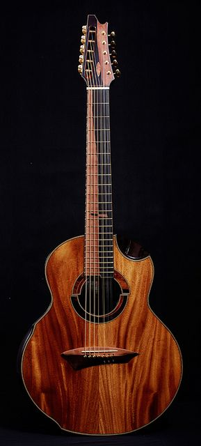 Jeffrey Yong-built acoustic 12-string koa guitar. Look at this thing! I mean really look! Wow.