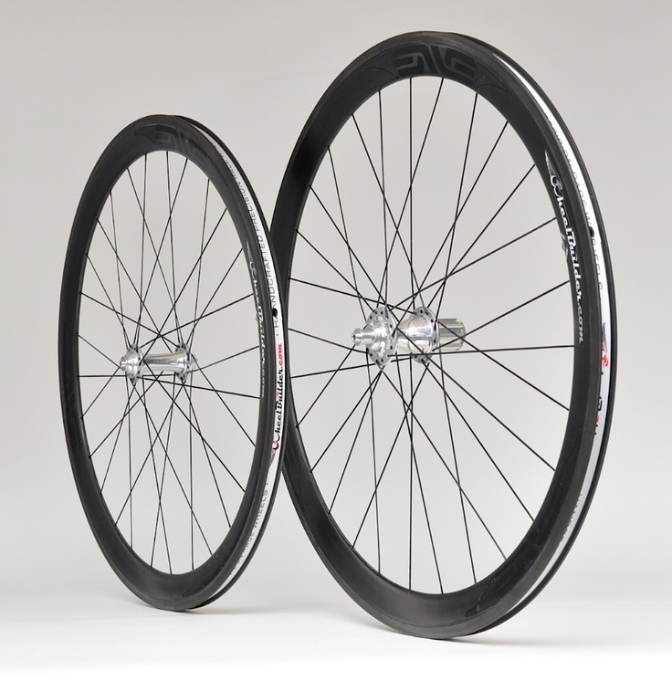 Precision handcrafted ENVE 45 rims     with Silver Chris King R45 front and rear hubs, black DT Swiss aerolite bladed spokes, and alloy nipples. 1377g.