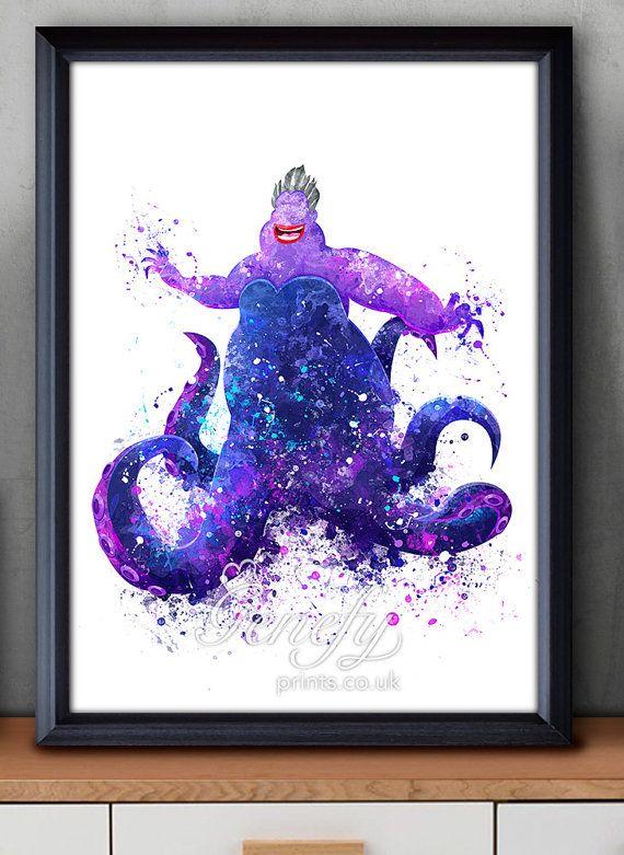 Disney kleine Meerjungfrau Ursula Watercolor Poster Print - Wand-Dekor - Artwork - Watercolor Painting - Aquarell Kunst - Kinder-Dekor-Kinderzimmer Decor