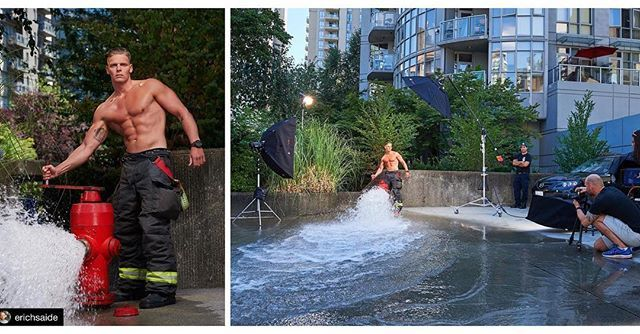Behind the scenes by @erichsaide :  Vancouver firefighter Calendar BTS! Dont let the winter weather get you down. The next post will warm you up  This shot was tricky not getting ourselves cooled down with the amount of water pressure those hydrants have.  @erichsaide | assistant @vince.in.vancouver | Creative Director:  @stylebydona | HMU @voilalounge . . . #bts #behindthescenes #erichsaide #firefightercalendar #photoshoot #profotoglobal #profotob1 #profotousa #kupo #kupogrip #sexy…