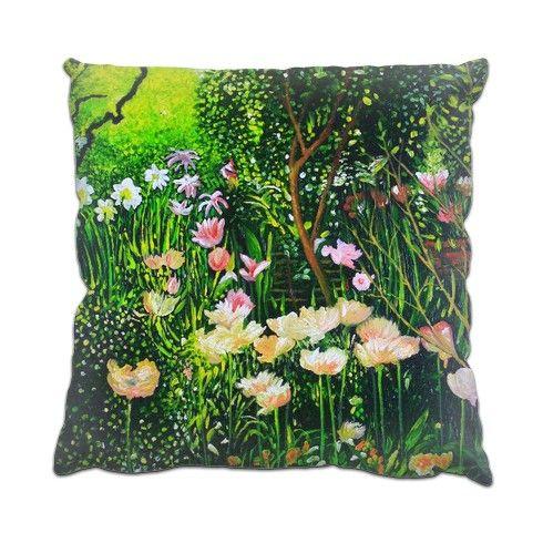 Spring Tulip Flowers  Cushion by simon-knott-fine-artist at zippi.co.uk