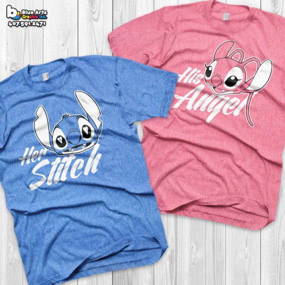 Disney Couple Shirts Stitch and Angel Lilo and by BlueArtsGraphix