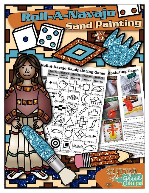Roll-A-Navajo-Sand-Painting Art History Game by Glitter Meets Glue Designs - Create a one of a kind sandpainting by rolling the die to select the different Native American symbols used to complete the design. Step-by-step pictorial directions are given. Perfect for sub plans or a one class project! #art LINK TO THE GAME: https://www.teacherspayteachers.com/Product/Roll-A-Navajo-Sand-Painting-Game-Multicultural-Painting-Art-Activity-1412603