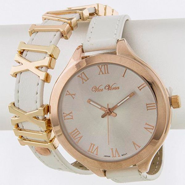 "Amazing Roman number leather wrap watch with gold and rose gold plated face available in 6 colors. - Approx. 16"" length - Approx. 1.7"" diameter watch case - Stainless steel - Lead/Nickel compliant"