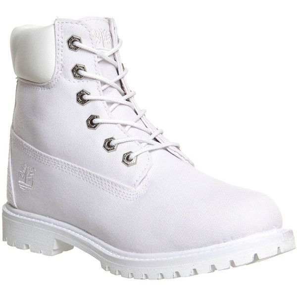 Timberland Premium 6 Boots (255 BGN) ❤ liked on Polyvore featuring shoes, boots, ankle booties, timberlands, ankle boots, white canvas, women, lace up boots, waterproof leather boots and leather booties