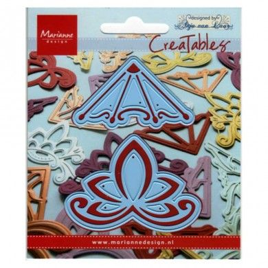 Corner Swirls 2 - Creatables by Marianne Design - Creatables are stencils for cutting and embossing paper. Always be careful when rolling the Creatables through the machine (there are different ways of stacking). After cutting remove the tiny paper particles from the stencil.