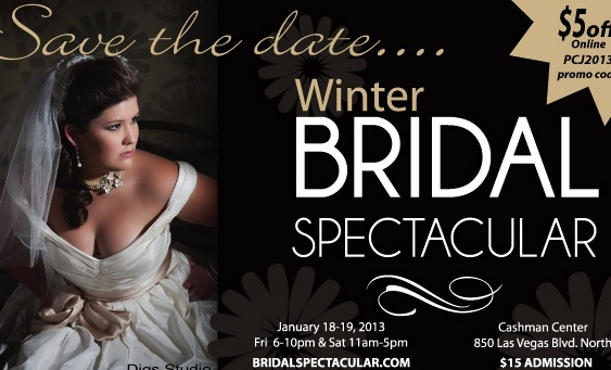 Las Vegas' most popular bridal show is coming January 18 & 19 to Cashman Convention Center. At the Bridal Spectacular you can meet top wedding professionals, see cutting edge wedding trends and fashions, sample cake, win prizes and so much more. Tickets are $15 at the door. Save $5.00 with Promo Code Pin2013. visit http://www.BridalSpectacular.com Code expires Jan 13.