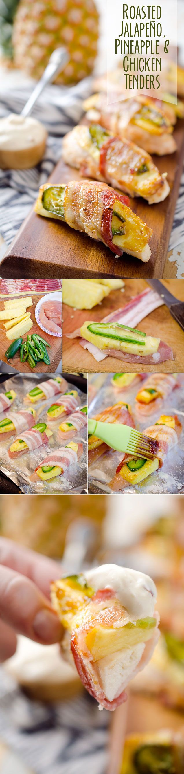 Roasted Jalapeño, Pineapple & Chicken Tenders - Juicy pieces of chicken breast wrapped up with a slice of jalapeño and pineapple in a flavorful piece of bacon served with a spicy szechuan Greek yogurt sauce. These make a great appetizer recipe or a fun and healthy dinner idea! #Chicken #Bacon #Light #Healthy