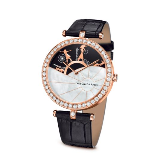 Lady Arpels A Day in Paris Watch,Satin-finish alligator, square scale - 3|4 View - VCARO3ZA00 - Van Cleef & Arpels