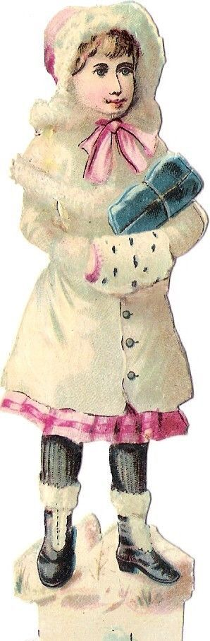 Oblaten Glanzbild scrap die cut chromo Kind child 11,7cm Winter Eis ice Schnee