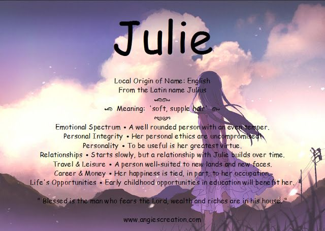Julie - Angies Creation Look up your Name www ...