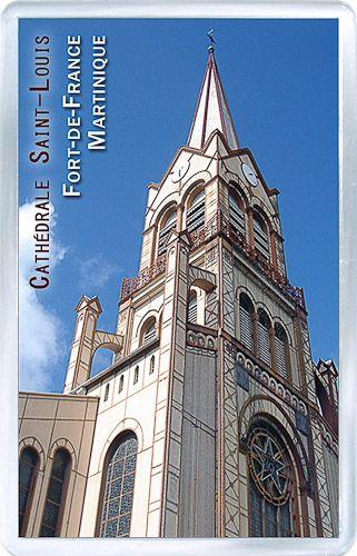 $3.29 - Acrylic Fridge Magnet: Martinique. St. Louis Cathedral. Fort-de-France