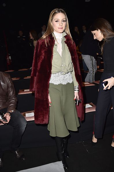 Olivia Palermo attends the Trussardi show during Milan Fashion Week Fall/Winter 2017/18 on February 26 2017 in Milan Italy