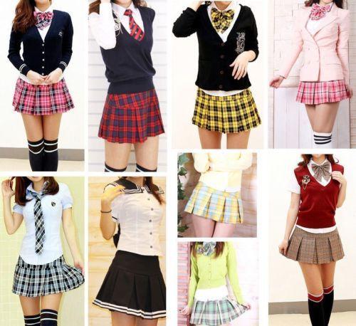 Pleated Plaid Mini Skirt Pretty School Girl Marine Look Flair Uniform Custom Made L These are Asian sizes | eBay