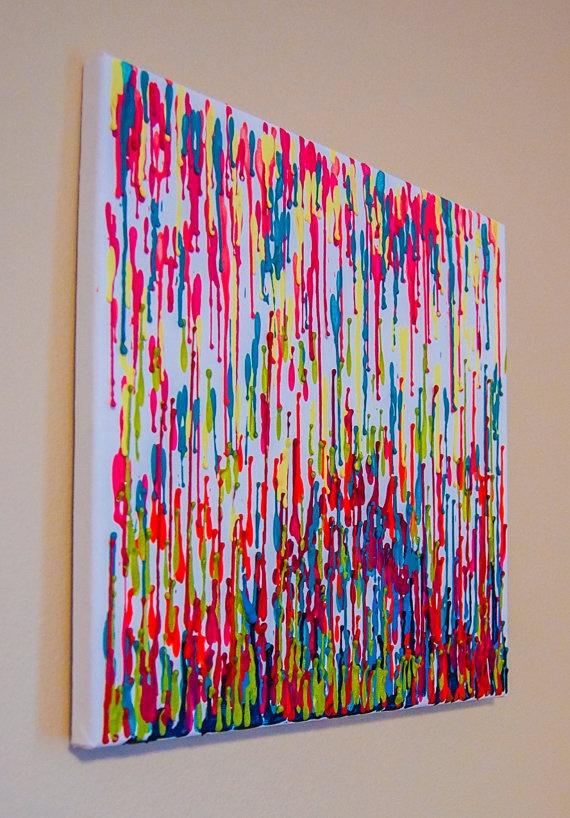 Summer Brights Crayon Wax Canvas Art by shuheartdesign on Etsy, $25.00