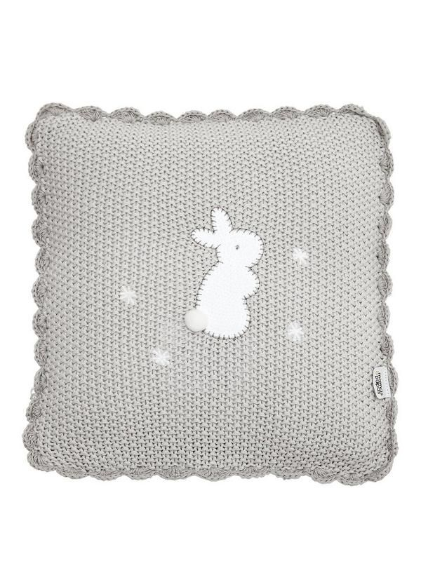 Mamas & Papas Welcome To The World Cushion Complete your little one's nursery with this beautiful Welcome To The World Cushion.Made from 100% cotton, this soft knitted cushion comes in a neutral design and features an adorableappliquébunny design. It would make a gorgeous gift for new babies.Height: 260 MMMaterial Content: Outer - 100% Cotton Filling- 100% PolyesterWidth: 260 MMA stunning accessory to enhance any nursery.