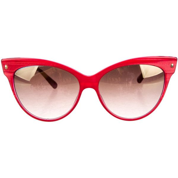 Pre-owned Christian Dior Sunglasses (9,685 INR) ❤ liked on Polyvore featuring accessories, eyewear, sunglasses, red, cateye glasses, cateye sunglasses, red sunglasses, cat eye sunglasses and red glasses
