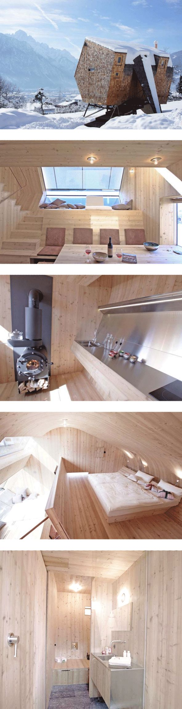 A 484 square foot minimalist home with breathtaking panoramic views, exposed wood, and lots of natural light. The Uvogel by Peter Jungmann