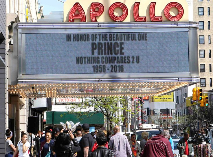 """New York Love from Prince Memorials: Fans Remember Late Singer  A sign on outside the Apollo Theater in NYC reads """"In honor of the beautiful one Prince nothing compares 2 u."""""""