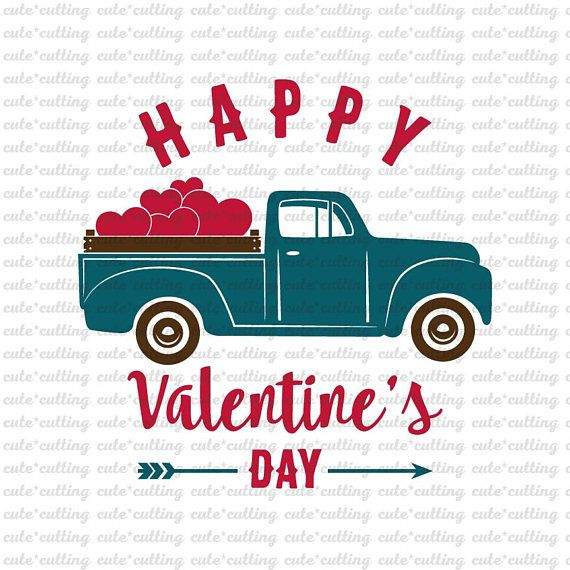 Valentines Truck Svg With Heart Day Old Vintage Pdf Dxf Jpeg Cutting Files For Silhouette Cameo Cricut