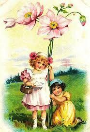 Картинки по запросу картины дети и цветы ретро