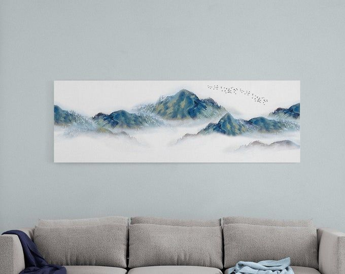 Horizontal Abstract Landscape Scenic Beauty Calm Scenery Pacific Landscape Mountains Aesthetic Wal In 2020 Landscape Art Prints Panoramic Wall Art Landscape Wall Art