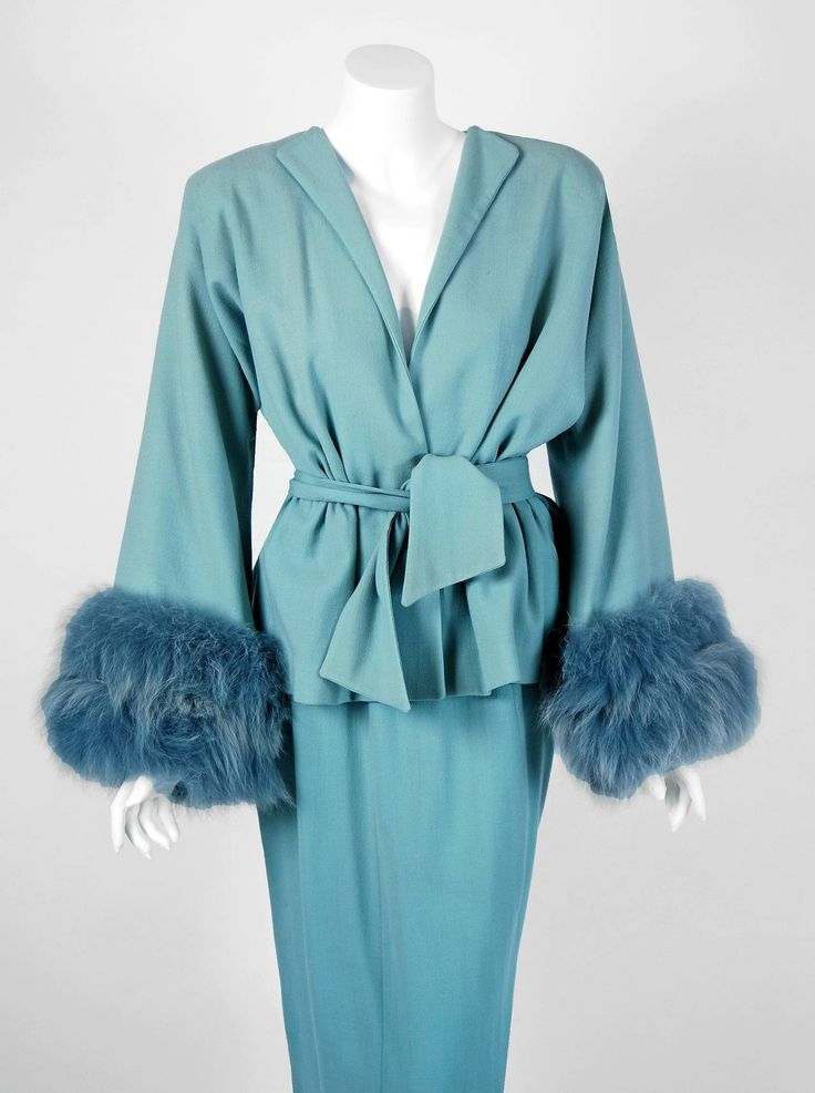 1940's Lilli-Ann Baby Blue Wool & Genuine Fox-Fur Belted Wiggle Dress Suit image 2