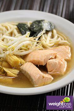 Japanese Salmon Noodle Soup Recipe. #HealthyRecipes #WeightLossRecipes #SoupRecipes weightloss.com.au