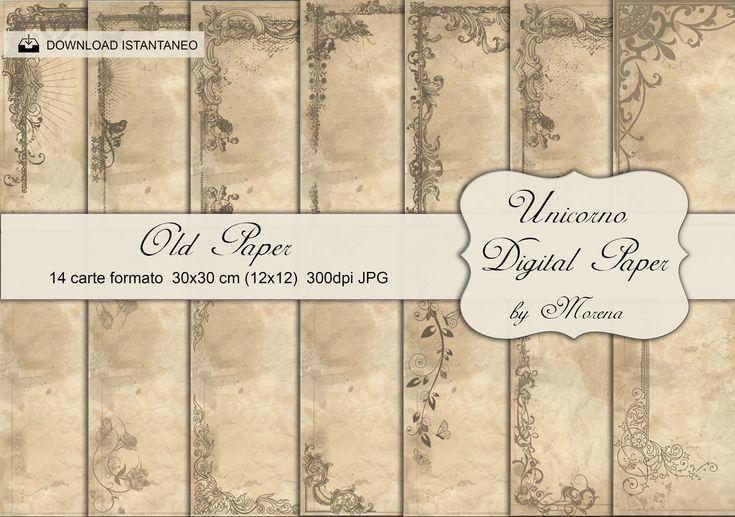 OLD PAPER Carta digitale, Craft, Carte per scrapbook, scrapbooking, Cartonnage, Sfondi, Papercraft, Vecchie carte, shabby, Retrò, vintage di UnicornoPorcellane su Etsy