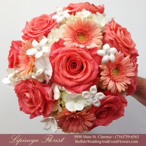 Lipinoga Florist of Clarence, NY designed this Bridal Bouquet with Coral Roses, Peach Gerbera Daisies and Ivory Hydrangea and Stephanotis for a wedding in Buffalo, NY. Getting married? Call to schedule a personal consultation: (716)759-6563 or visit our blog: www.BuffaloWeddingAndEventFlowers.com #BuffaloWeddingFlowers #RealBuffaloWeddings #BuffaloFlorist