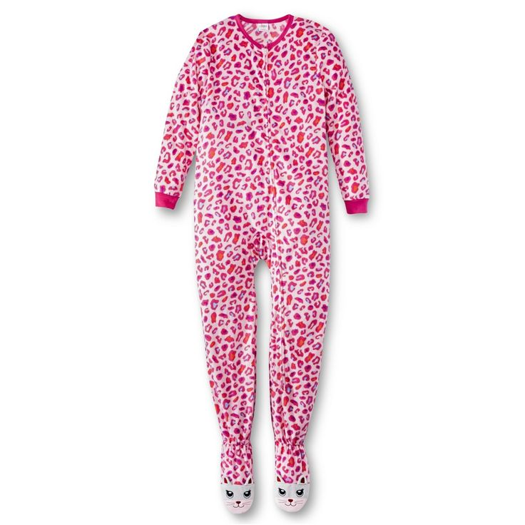 Girls' Leopard Print Footed Sleeper