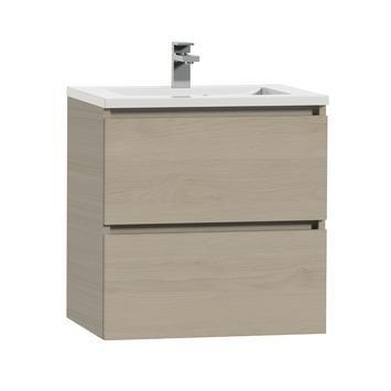 Tiger Karlo badkamermeubel 60 cm naturel eiken met wastafel hoogglans wit kopen? Verfraai je huis & tuin met Badkamermeubelen van KARWEI