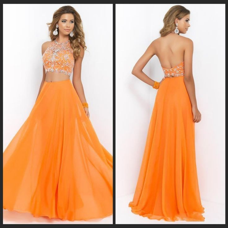 Orange A-line two pieces lace beaded backless long floor-length Prom Dresses special high quality,Cheap prom dress BD1705724