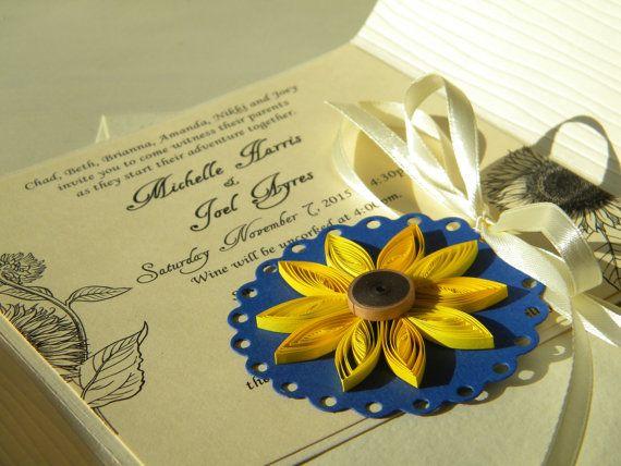 Invito a nozze girasole girasole e cobalto matrimonio invito / girasole e blu…