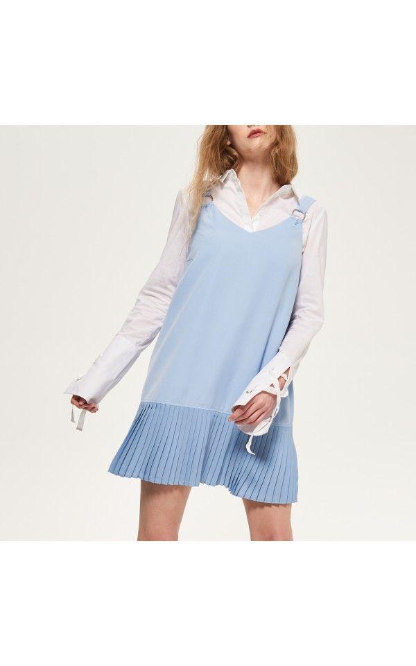 Sukienka z plisowanym dołem, SUKIENKI, niebieski, RESERVED