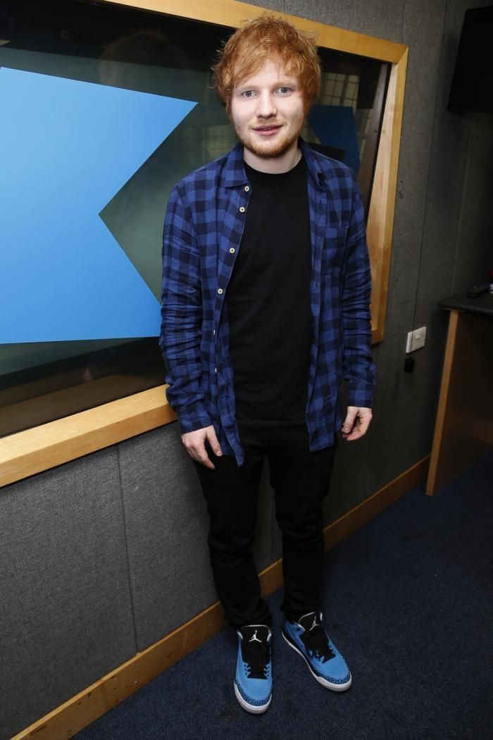 53fb57f3258 Ed Sheeran wearing the Air Jordan 3 retro powder blue sneakers
