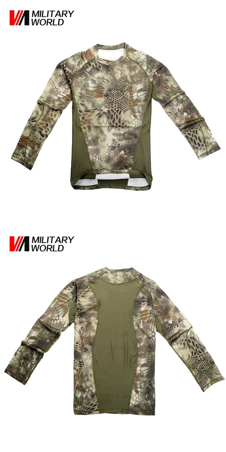 [Visit to Buy] Army Camouflage Tactical T Shirt Men Long Sleeve Fitness Military Uniform Combat Clothing Sport Hunting Base Layers Clothing #Advertisement
