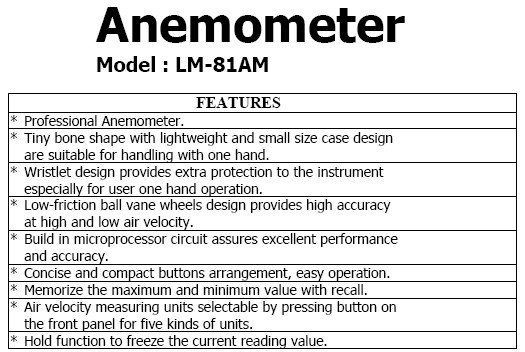 Worldwide free freight - LUTRON LM-81AM mini Anemometer wind Meter