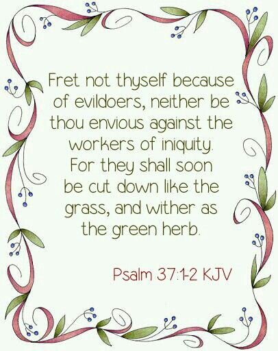 """A Psalm of David. """"Fret not thyself because of evildoers, neither be thou envious against the workers of iniquity. For they shall soon be cut down like the grass, and wither as the green herb."""" Psalm 37:1-2 KJV"""
