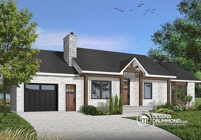 W2236 - Plan du0027un grand bungalow avec garage, 3 chambres, belle
