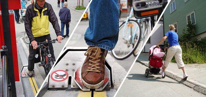 Norským cyklistům pomáhá ve zdolání kopce eskalátor