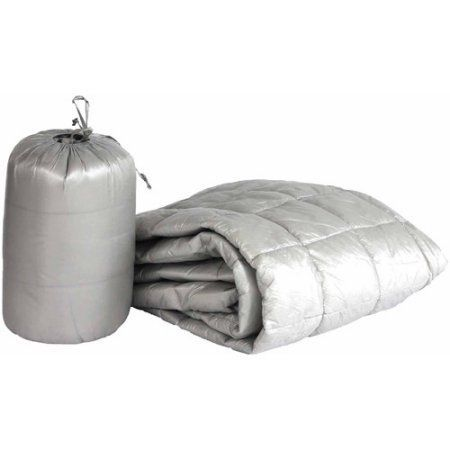 50 inch x 70 inch Puff Ultra Light Indoor/Outdoor Nylon Throw with Compact Travel Bag, Gray