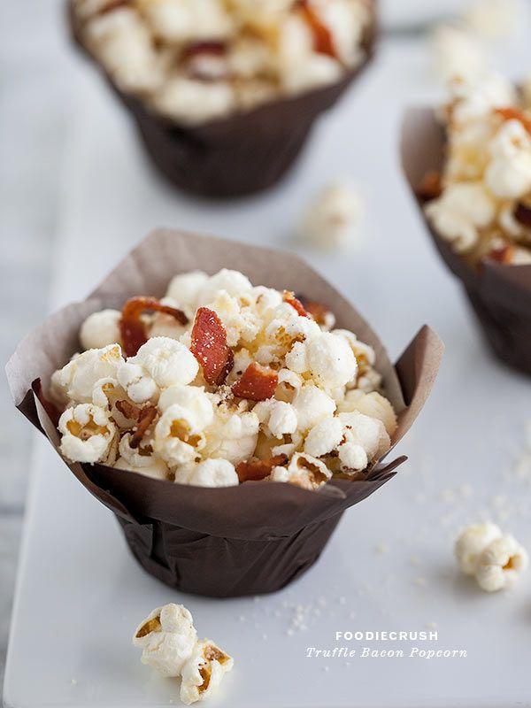 Truffle Bacon Popcorn Plus 6 Savory Popcorn Recipes || FoodieCrush.com #recipe #popcorn