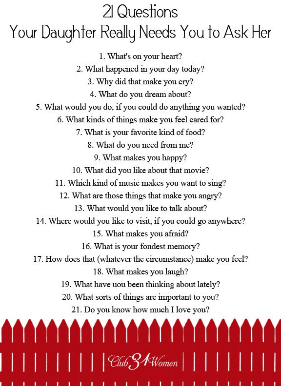 So how do you develop a close relationship with your daughter? How do you get to know her heart? Here's how! FREE Printable: 21 Questions Your Daughter Needs You to Ask Her