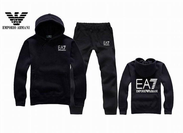 Armani Men Tracksuit Casual Sportswear Outdoor Autumn Long Sleeve  Sweatshirts BLACK