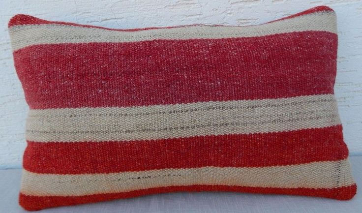14''x20'' Country Decor French Farmhouse Grainsack Woven Wool Kilim Pillow Cover #Handmade #FrenchCountry