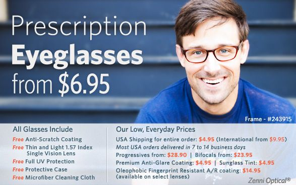 Zenni Optical - a penny pinching working mom's best friend. If you don't know about this site yet, check it out now!  All you need is a print out of your glasses prescription and you are all set.