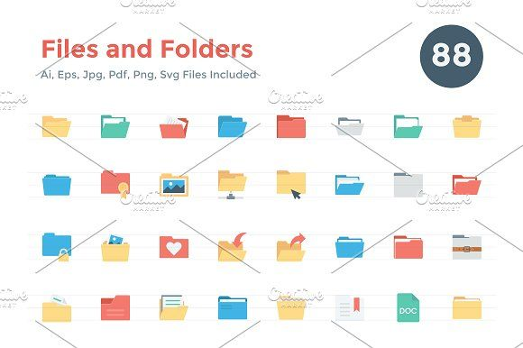 88 Flat Files and Folders Icons @graphicsmag