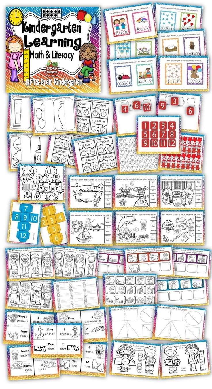 Kindergarten Learning - Math & Literacy Activities 42 pages 40% OFF {48 Hours} Kindergarten Learning has 10 activities/printables to help teach and/or reinforce prekindergarten and kindergarten math and literacy skills. This file packs a punch for end of the year review and focusing on kindergarten readiness skills.  http://www.teachersnotebook.com/product/RFTS-Preschool/kindergarten-learning-math-amp-literacy-activities