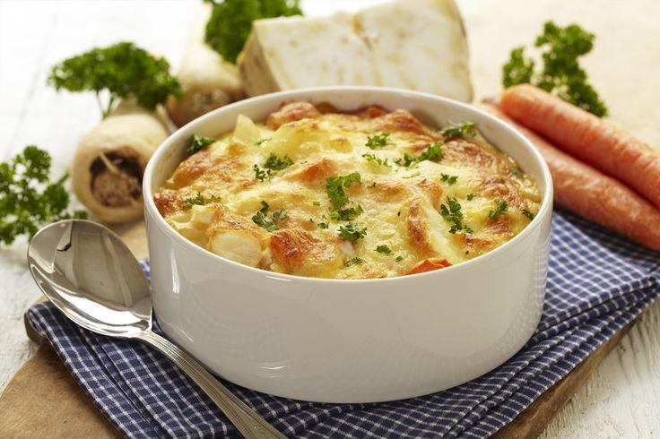 Deilig grateng med rotgrønnsaker og poteter som egner seg som en egen rett med brød eller salat til, eller som tilbehør til middag.